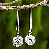 Sterling silver dangle earrings, 'Simply Spiral' - Artisan Crafted Sterling Silver Hook Earrings with Spiral