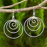 Sterling silver dangle earrings, 'Ever Inward'