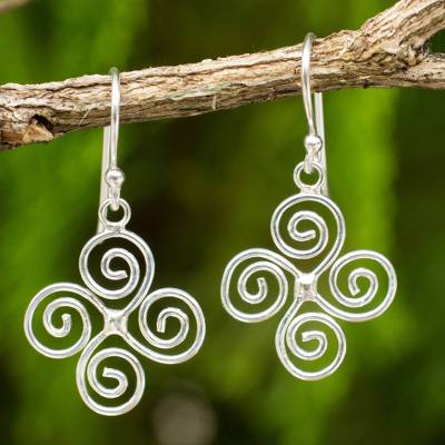 Sterling silver dangle earrings, 'Spiraling WInds' - Artisan Crafted Spiral Design Sterling Silver Earrings