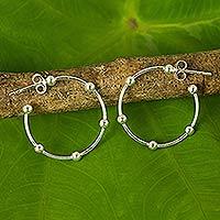 Sterling silver half-hoop earrings, 'Cosmos' (1 inch)