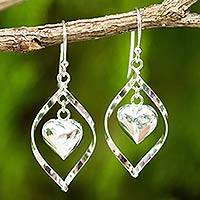 Sterling silver dangle earrings, 'Captive Heart' - Sterling Silver 925 Heart Motif Dangle Earrings