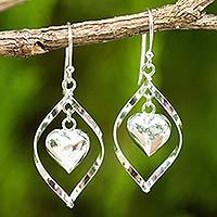 Sterling silver dangle earrings, 'Captive Heart' - Sterling Silver 925 Heart Motif Dangle Earrings
