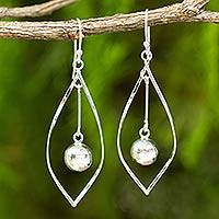Sterling silver dangle earrings, 'Captive Pendulums' - Artisan Crafted Modern Sterling Silver Dangle Earrings