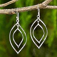 Sterling silver dangle earrings, 'Eyes on You' - Modern Sterling Silver Dangle Earrings with Polished Finish