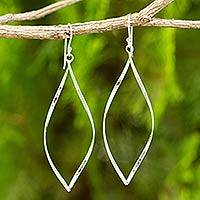 Sterling silver dangle earrings, 'Curvature'