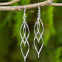 Sterling silver dangle earrings, 'Ribbon Helix'