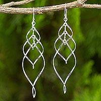 Sterling silver dangle earrings, 'Forever Linked' - Helix Design Dangle Earrings in 925 Sterling Silver