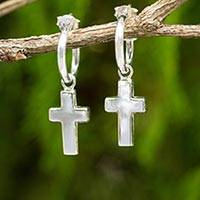 Sterling silver half-hoop earrings, 'Solid Faith' - Sterling Silver Half Hoop Earrings with Cross Charms