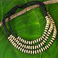 Wood beaded necklace, 'Hawaiian Spring' - Thai Hand Beaded Wood Necklace with Three Strands