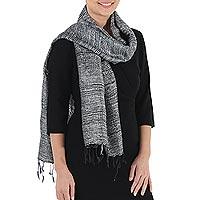 Silk scarf, 'Fresh Breeze in Slate' - Monochromatic Raw Silk Scarf Woven by Hand in Thailand
