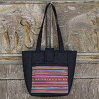 Cotton shoulder bag, 'Lisu Realm in Black' - Lisu Hill Tribe Multicolor Applique on Cotton Shoulder Bag