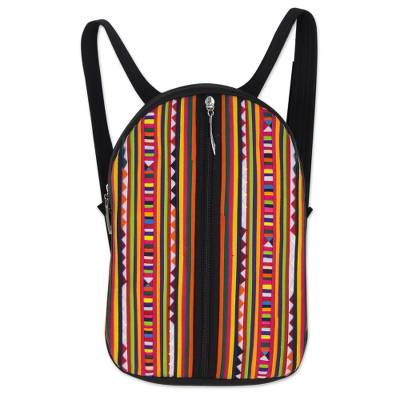Multicolor Lisu Hill Tribe Applique on Black Cotton Backpack