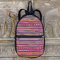 Cotton backpack, 'Red Lisu Journeys' - Black Cotton Backpack with Lisu Hill Tribe Color Applique