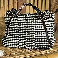 Cotton and leather accent shoulder bag, 'Thai Domino' - Black and White Gingham Hand Woven Cotton Handbag with Strap