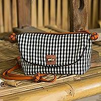 Cotton and leather accent shoulder bag, 'Lucky Domino' - Black and White Gingham Shoulder Bag with Leather Accents