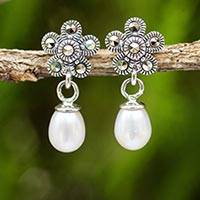 Cultured pearl dangle earrings, 'Aurora Lily' - Handmade Pearl and Marcasite Dangle Earrings from Thailand