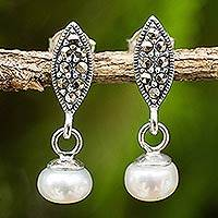 Cultured freshwater pearl and marcasite dangle earrings, 'Thai Lily' - Handmade Marcasite and Freshwater Pearl Dangle Earrings