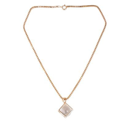 Quartz and Rose Gold-Plated Thai Artisan-Crafted Necklace