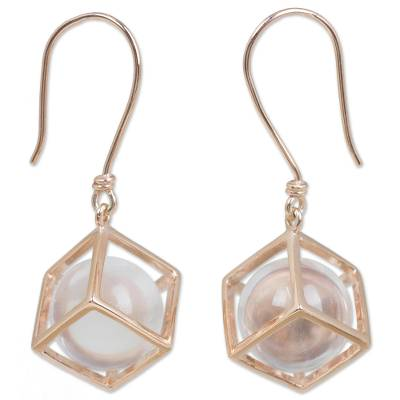 Artisan Crafted Quartz and Rose Gold Plated Dangle Earrings
