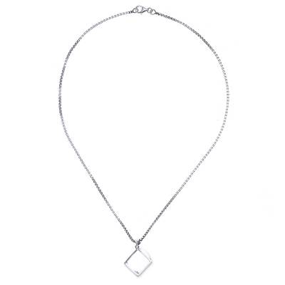 Modern Sterling Silver Necklace with Quartz