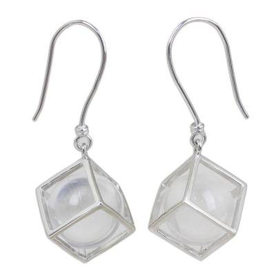 Clear Quartz and Sterling Silver Earrings from Thailand