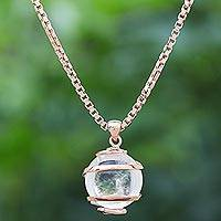 Rose gold plated quartz pendant necklace, 'Crystalline Spin' - Thai Quartz Necklace in Rose Gold Plated Sterling Silver