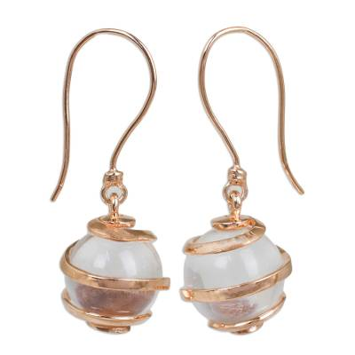 Clear Quartz and Rose Gold Plated Earrings from Thailand