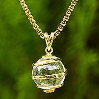 Gold plated quartz pendant necklace,
