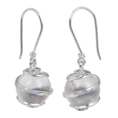 Hand Crafted Clear Quartz and Sterling Silver Earrings