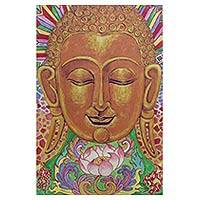 'The Buddhism lll' - Colorful Acrylic on Canvas Painting Of Buddha