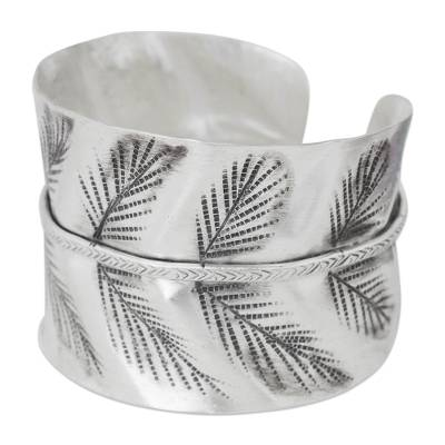Hand Crafted Silver Cuff Bracelet with Leaf Motif