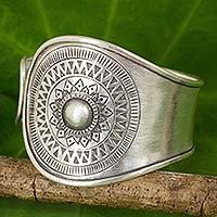 Silver cuff bracelet, 'Karen Blooming' - Handmade Thai Karen Hill Tribe Cuff Bracelet in 950 High Con