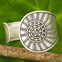 Silver cuff bracelet, 'Forest Rising' - Hand Crafted Silver Cuff Bracelet from Thailand