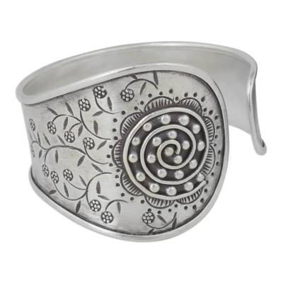 Artisan Crafted Silver Cuff Bracelet with a Floral Motif