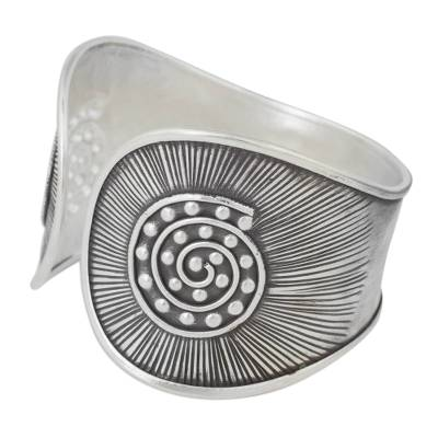Hand Crafted Silver Cuff Bracelet with Geometric Motif