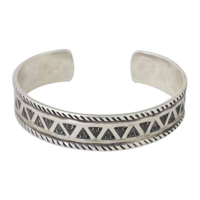 Handmade Silver Cuff Bracelet with Star and Triangle Motif