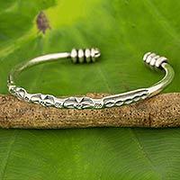 Silver cuff bracelet, 'Karen Voice'