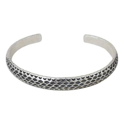 Artisan Crafted Silver Cuff Bracelet from Thailand