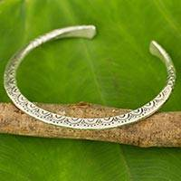 Silver cuff bracelet, 'Karen Lace' - Artisan Crafted Silver Cuff Bracelet from Thailand