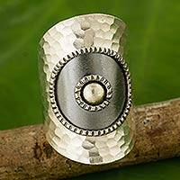 Silver wrap ring, 'Silver Sun' - Artisan Made Thai Silver Wrap Ring with Oxidized Finish
