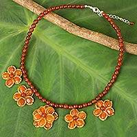 Carnelian beaded necklace, 'Golden Daisy Chain' - Hand Crafted Carnelian and Glass Bead Necklace from Thailand