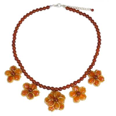 Hand Crafted Carnelian and Glass Bead Necklace from Thailand