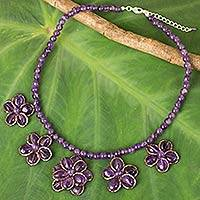 Amethyst beaded necklace, 'Purple Daisy Chain' - Artisan Crafted Amethyst Beaded Necklace with Floral Motif