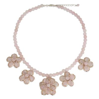 Handmade Rose Quartz Beaded Necklace with Floral Motif