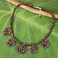 Garnet and tiger's eye beaded necklace, 'Garnet Daisy Chain' - Hand Crafted Tiger's Eye and Garnet Necklace from Thailand