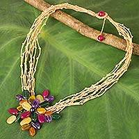 Multi-gemstone beaded pendant necklace, 'Twigs and Flowers' - Colorful Flower Pendant Necklace on Waxed Beige Cords