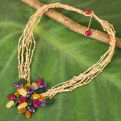 Multi-gemstone beaded pendant necklace, Twigs and Flowers