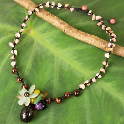 Multi-gemstone pendant necklace, 'Blooming Earth' - Hand Crafted Multicolored Gemstone Pendant Necklace