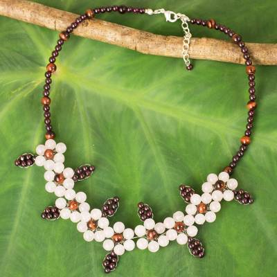 Multi-gemstone beaded necklace, 'Pink Plum Blossoms' - Artisan Crafted Gemstone Beaded Necklace with Floral Motif