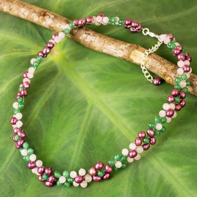 Rose quartz and cultured pearl beaded choker, 'Blossoming Rainbow' - Artisan Crafted Pearl and Quartz Beaded Floral Necklace